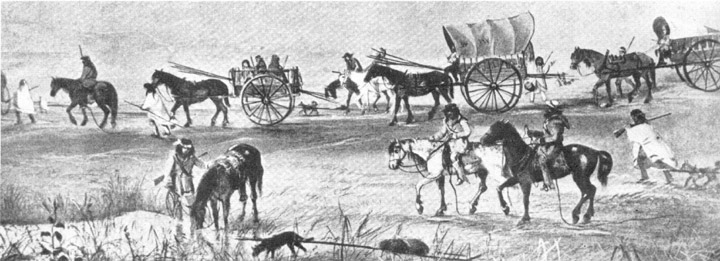 a caravan of buffalo hunters crosses the plains
