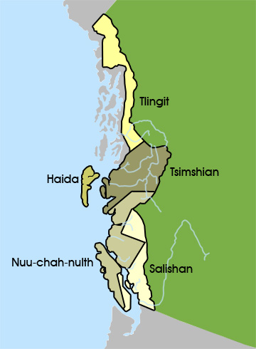Map of the Northwest Coast tribal groups