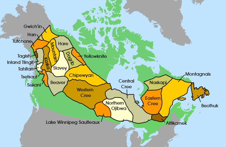 Native American Reservation In Canada Map The Subarctic People   Groups in this Region